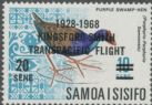 Samoa SG305 40th Anniversary of Sir Charles Kingsford Smith's Trans-Pacific Flight 20c overprint on 10c Purple Swamphen